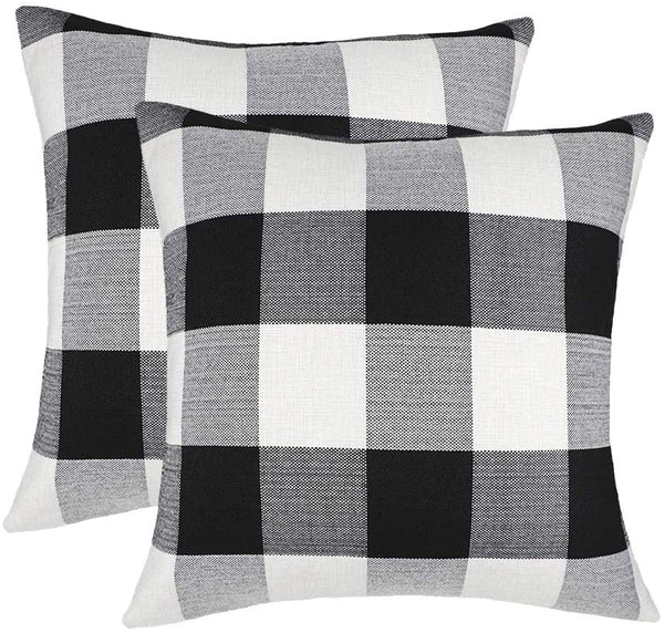 4TH Emotion Set of 2 Farmhouse Buffalo Check Plaid Throw Pillow Covers Cushion Case Cotton Linen for Fall Home Decor Black and White, 20 x 20 Inches