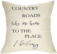 "Ussap Country Road Take Me Home Sign Rustic Farmhouse Style Decorative Throw Pillow Cover Cushion Case for Sofa Couch Housewarming Gift Home Decor Cotton Linen 18"" x 18"" Inch"