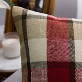 MIULEE Pack of 2 Decorative Throw Pillow Covers Checkered Plaids Tartan Cotton Linen Rustic Farmhouse Square Cushion Case for Bench Sofa Couch Car Bedroom Red and Tan 18x18 inch