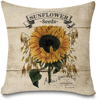 "Faromily Rustic Farmhouse Sunflower Throw Pillow Covers Vintage Wood Sunflower Seeds Cotton Linen Farmhouse Decorative Throw Pillow Cases Cushion Cover 18"" X 18"" (Sunflower)"