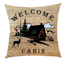 Welcome to The Cabin Wild Free Animal Bear Pine Tree Cotton Linen Square Throw Waist Pillow Case Decorative Cushion Cover Pillowcase Sofa 18x18 inches (4)