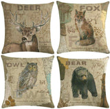 ULOVE LOVE YOURSELF Vintage Wild Animals Throw Pillow Covers Fox Owl Bear Deer Cushion Covers Wildlife in Forest Mountain Cotton Linen Pillow Cases 18 x 18 inches,4Pack (Animals)