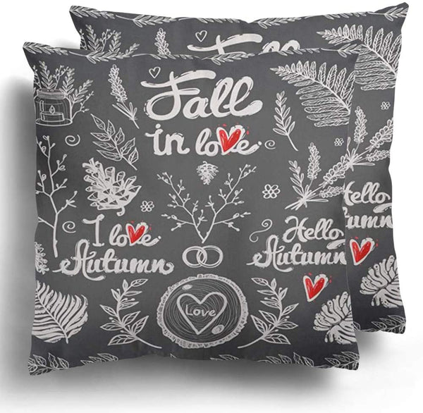Throw Pillow Covers Pack of 2 Vintage and Fall in Love Lettering Floral Rustic Forest Wedding Hipster Leaves Flower Branches White Chalk Polyester Cushion Cases Couch Home Decoration 20 x 20 Inches