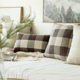 MIULEE Classic Retro Checkers Plaids Cotton Linen Soft Soild Decorative Square Throw Pillow Covers Home Decor Design Cushion Case for Sofa Bedroom Car 12 x 20 Inch 30 x 50 cm