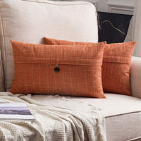 MIULEE Set of 2 Decorative Linen Throw Pillow Covers Cushion Case Button Vintage Farmhouse Pillowcase for Couch Sofa Bed 12 x 20 Inch 30 x 50 cm Orange