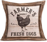 Aremetop Farmhouse Decorative Throw Pillow Covers Rustic Poultry Animal Quote with Retro Wood Cushion Decor Pillowcase Farm Fresh Rooster Eggs Dairy Cow Cotton Linen Cushion Cover Set of 4,18''x18''