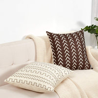 WLNUI Set of 4 Pillow Covers,18x18 Pillow Covers Modern Throw Pillow Covers Brown Boho Geometric Mudcloth Cotton Linen Neutral Decorative Pillow Covers for Sofa Couch Chair