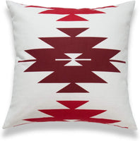 "Hofdeco Boho Style Decorative Throw Pillow Cover ONLY, Southwestern Tribal Aztec Pillow, Dark Red Diamond, 18""x18"""