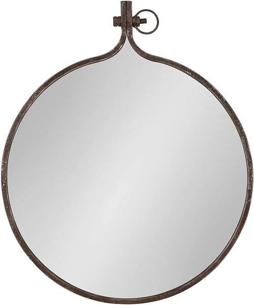 "Kate and Laurel Yitro Round Industrial Rustic Metal Framed Wall Mirror, 23.5"" Diameter, Bronze"