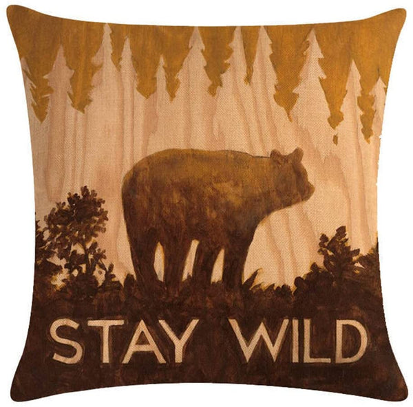"KACOPOL Vintage Background Wildlife Bear Moose Elk Ridge with Quote Words Pillow Covers Cotton Linen Throw Pillow Case Cushion Cover Home Couch Outdoor Decor 18"" x 18"" (Rustic & Vintage)"