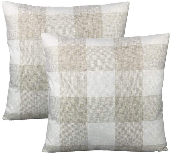 VAKADO Farmhouse Buffalo Plaids Decorative Throw Pillow Covers Retro Rustic Checkers Cotton Linen Square Cushion Cases Home Decor Outdoor for Sofa Couch Patio 18x18 Set of 2, Beige Cream White