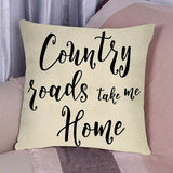 Fbcoo Country Roads Take Me Home Quotes Decorative Throw Pillow Cover, Farmhouse Vintage Cushion Case Rustic Home Decorations Square Pillowcase Decor for Sofa Couch 18 x 18 Inch Cotton Linen