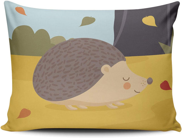 SOSHU Throw Pillow Covers Cute Cartoon Hedgehog in Autumn Forest Cushion Cases for Sofa Home Decorative Pillowcases Lumbar Size 12x20 Inches Printed One Side