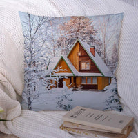 Decorative Throw Pillow Cover Polyester Snow Travel Tree Wooden House Village Blue Snowcovered Forest Rustic Covered Rural Ural Landmarks Cozy Square Case for Sofa Couch Living Room 18x18 Inch
