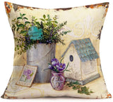 Throw Pillow Covers Vintage Vase Lavender Hyacinth Daisy Flowers Plants Decorative Pillow Covers Cotton Linen Square 18 x 18 Inches Rustic Throw Pillowcase Cushion Cover (Rustic Floral-13)