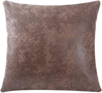 WFLOSUNVE Soft Faux Leather Pillow Cover Decorative Throw Pillow Case Cushion Cover for Couch and Sofa 18x18 Inch, No Pillow Insert (Light Brown)