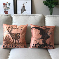 4Pack Wild Animals Throw Pillow Covers With Deer Moose Bear Eagle Pattern Vintage Country Rustic Majestic Wildlife in Forest Mountain Cotton Linen Cushion Cover Pillow Cases 18 x 18 inches (Animals)