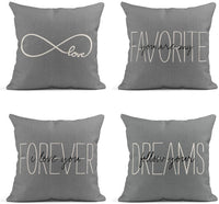 Tarolo Decorative Linen Throw Pillow Covers Cases Set of 4 Rustic Gray Love Rustic Gray You are My Favorite Partner Custom I Love You Forever Gray Rustic Gray Follow Pillow Cover Case 20x20 inches