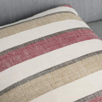 MIULEE Pack of 2 Decorative Classic Retro Stripe Throw Pillow Covers Cotton Linen Modern Farmhouse Pillow Case Red and Brown Cushion Case for Sofa Bedroom Car 16 x 16 Inch 40 x 40 cm