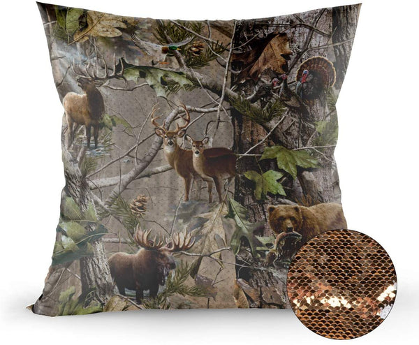 zzsunfeel Rustic Realtree Forest Sequin Magic Throw Pillow Case Bird Bear Deer Elk Animals Flip Satin Pillow Cover Color Changing Fun for Kids - 24 x 24 inches