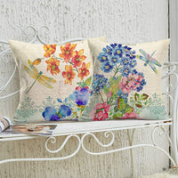 Xihomeli Set of 2 Cotton Linen Dragonfly Throw Pillow Cover Decorative 18x18 Inch Watercolor Flowers Printing Couch Pillow Case Rustic Farmhouse Cushion Cover for Sofa Bedding (Dragonfly 2Pack)