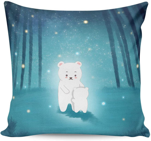 LAMANDA Cartoon Forest White Bears Throw Pillow Case Cotton Linen Cushion Covers Home Decorative Lighting Firefly Trees Pillowcases for Sofa Couch Bed Car 18x18Inch
