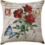 "Vintage Rose Flower Throw Pillow Covers With Butterfly Stamp Retro Letter Violet Cushion Cover Set Of 4 Home Decorative Cotton Linen Square Pillow Cases For Sofa Couch 18x18 Inch (Vintage Flower, 18"")"