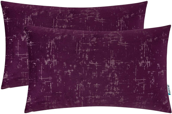 HWY 50 Velvet Soft Comfy Soild Decorative Throw Pillow Covers Set Cushion Cases for Couch Bed Sofa Purple Rectangular 12 x 20 inch Pack of 2