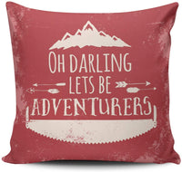 DOUMIFA Home Throw Pillow Case Red and White Rustic Typography Oh Darling Lets Be Adventurers Square Decorative Pillowcase Cushion Cover Both Sides Same Colored Printing 18X18 inch (1-Pack)