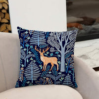 Set of 2 Euro Throw Pillow Covers Rustic Wolf/Deer/Grove Theme Outdoor Couch Decorative Pillow Cases 18x18 Inches Cushion Protectors