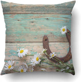 Emvency Throw Pillow Covers Rustic with Rusty Horseshoe and Daisies On Old Wooden Boards Copy Space Top 18 x 18 inch Square with Hidden Zipper Polyester Home Sofa Cushion Decorative Pillowcase