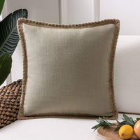 Phantoscope Farmhouse Decorative Throw Pillow Covers Burlap Linen Trimmed Tailored Edges Outdoor Pillows Beige 18 x 18 inches, 45 x 45 cm