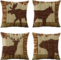 WOMHOPE 4 Pcs Rustic Throw Pillow Covers Square Cushion Pillowcase Decorative Pillow Shams (Forest Animal (Set of 4 pcs))