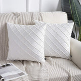 Phantoscope Pack of 2 Velvet Decorative Pleated Throw Pillow Covers Soft Solid Square Cushion Case for Couch Off White, 18 x 18 inches 45 x 45 cm