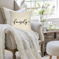 "Fjfz Set of 4 Rustic Farmhouse Decorative Throw Pillow Cover Family Farmhouse Blessed Gather Sign Spring Summer Decoration Home Décor Cotton Linen Cushion Case for Sofa Couch, 18"" x 18"""