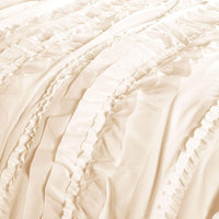 Lush Décor Belle 4 Piece Ruffled Comforter Set with Bed Skirt and 2 Pillow Shams, King, Ivory