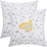 CaliTime Pack of 2 Cotton Throw Pillow Cases Covers for Bed Couch Sofa Cute Bird in Gray Garden Embroidered 18 X 18 Inches Coffee