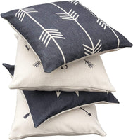 Hermosa Collection Contemporary Decorative Premium Throw Pillow Covers (4 Pc. Set) 18 x 18 Cotton Linen Squares Boho Neutral Colors Living Room Bedroom Patio Decor Couch Sofa and Bed Accessories