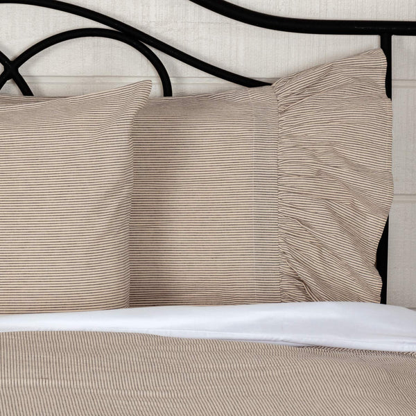 "Sara's Ticking Ruffled Shams or Pillow Cases, Set of Two, 21"" x 27"" Plus 8"" Ruffle, Fits Standard Bed Pillows, Black & Cream Mini Mini Stripe, Vintage Farmhouse, Country Cottage Bedding"