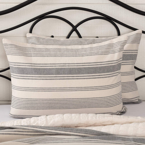 "Piper Classics Farm Market Standard Size Pillow Sham, 21"" x 27"", Urban Rustic Farmhouse Bedding, Pillow Cover/w Natural Cream and Gray Stripes"