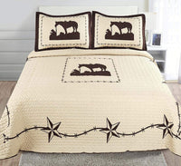 Sapphire Home 3 Piece King Size Quilt Bedspread Set w/2 Pillow Shams, Western Design Collection, Wild Horse Country/Horseshoe/Star/Cowboy Design, King Western Coffee Beige