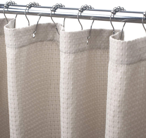 AmazerBath Waffle Shower Curtain, Heavy Duty Fabric Shower Curtains with Waffle Weave Hotel Quality Bathroom Shower Curtains, 72 x 72 Inches (Khaki Honeycomb)