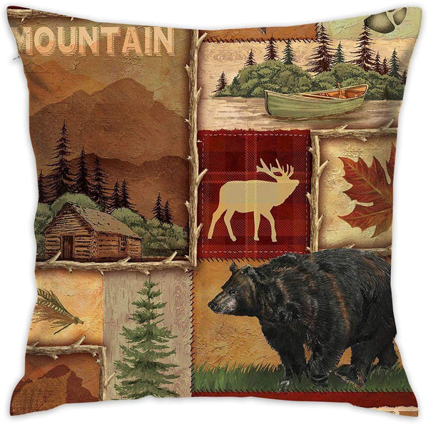 "Asefcnxkjii Rustic Lodge Bear Moose Deer Throw Pillow Case Square Decorative Cushion Case Cover for Home Sofa Couch Bed Decoration 18"" X 18"""