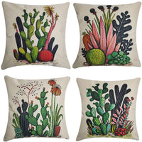 "NING Cotton Linen Home Decorative Throw Pillow Case Set of 4 Cushion Cover 18"" x 18"" (Cactus)"