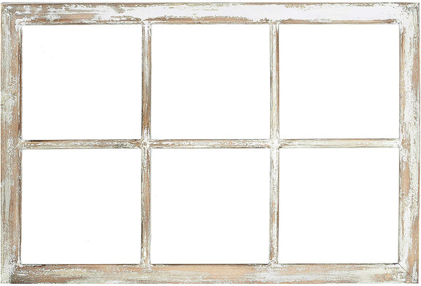 Rustic Antique 6 Pane Wooden Window Pane | Wall Mount Distressed Home Decor Accent for Any Farmhouse Room Style | 36 x 24 inches