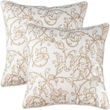 "Millianess Neoclassical Style Pillow Cover Embroidered Rustic Style Throw Pillow for Couch Bedroom Car Home Decorative 18""x 18"" 2 Pack(White) …"