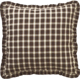 VHC Brands Rustic & Lodge Farmhouse Bedding-Rory Fabric Euro Sham, Chocolate Brown
