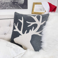 Homey Cozy Applique Gray Velvet Throw Pillow Cover, Merry Christmas Series Reindeer Horn Luxury Soft Fuzzy Cozy Warm Slik Decorative Gift Square Couch Cushion Pillow Case 20 x 20 Inch, Cover Only