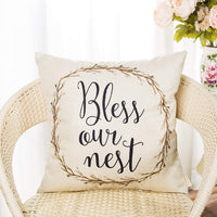 Fahrendom Rustic Spring Summer Décor Bless Our Nest Vine Wreath Vintage Country Style Retro Farmhouse Decoration Cotton Linen Home Decorative Throw Pillow Case Cushion Cover for Sofa Couch 18 x 18 in