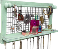 Rustic Jewelry Organizer with Bracelet Rod Wall Mounted l Wooden Wall Mount Holder for Earrings, Necklaces, Bracelets, and Many Other Accessories SoCal Buttercup